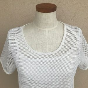 Eloquii Tops - Eloquii Studio White Perforated Crop Top